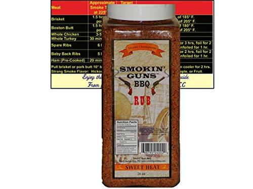 (Smokin Guns BBQ Rub Sweet Heat Large 1.6 Pound (26 oz) Bottle with Complimentary Miniature Meat Smoking Guide Magnet Bundle)