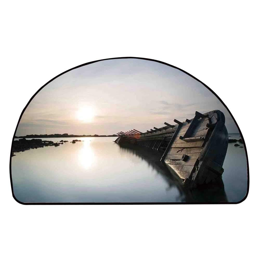 C COABALLA Ocean Decor Comfortable Semicircle Mat,Big Sinking Rustic Boat Crash in The Lake Landscape with Horizon on Back for Living Room,11.8'' H x 23.6'' L