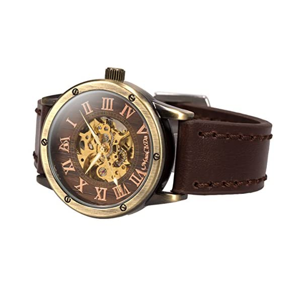 ManChDa Mens Wrist Watch Fashion Leather Band Special Burlywood dial Automatic Mechanical Wrist Watch for Men + Gift Box 5
