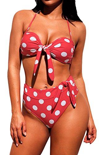 - HOTAPEI Bikinis Women Sexy Padded Bandage Bikini Set Two Piece Swimsuit High Waisted Polka Dot Print Bow Tie Halter Bikini Swimsuit for Women Juniors Push Up Pink