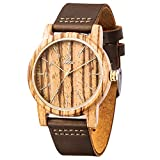 Mens Leather Wooden Watch,BIOSTON Natural Handmade 40mm Unisex Zebra Wood Watches with Brown Leather Strap