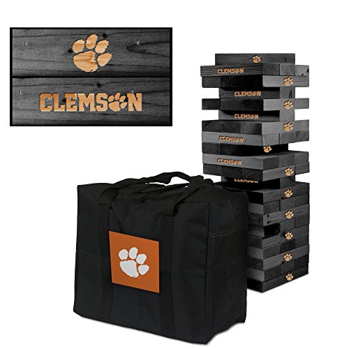Clemson University Tigers Onyx Stained Giant Wooden Tumble Tower Game by Victory Tailgate