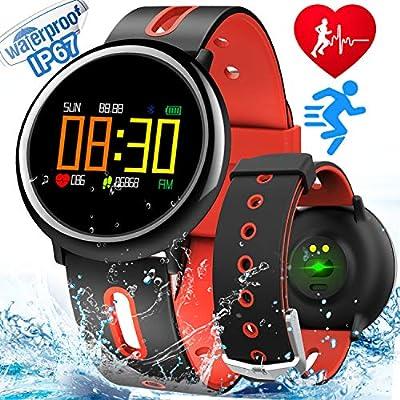 "Fitness Tracker Smart Watch with Heart Rate Monitor Blood Pressure Sleep Monitor IP67 Waterproof Activity Tracker Watch Pedometer for Kid Women Men Color Screen 0.95""Sport Smart Bracelet"