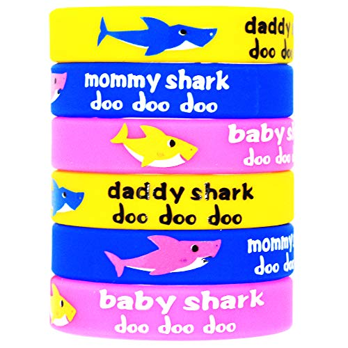 24pcs Shark Party Favors Rubber Bracelets,Shark Birthday Party Supplies Silicone Wristbands Ideal for Baby Shower Kids Shark Themed Birthday Decoration]()
