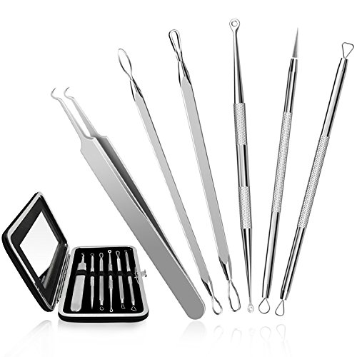 CHIMOCEE Professional Surgical Blackhead Remover Tools, Blemish and Splinter Acne Pimple Removal Kit, Come Done Extractor Tool for Whitehead, Pimples and Zit Popper Leather Case with Mirror, Pack of 6