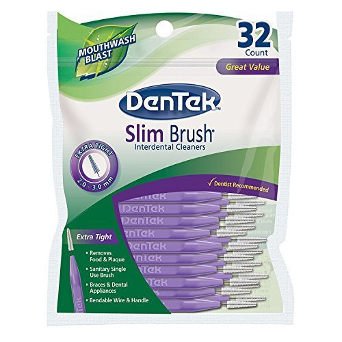 DenTek Slim Brush Interdental Cleaners | Slim Brush for Extra Tight spaces | 32-Count | 1-Pack