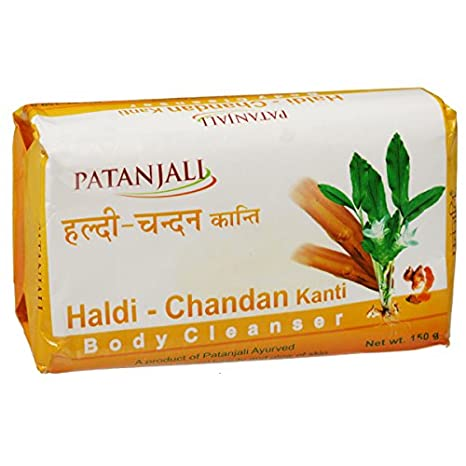 bathing Soap 150 Gm Patanjali Haldi Chandan Kanti Body Cleanser Pack Of 3