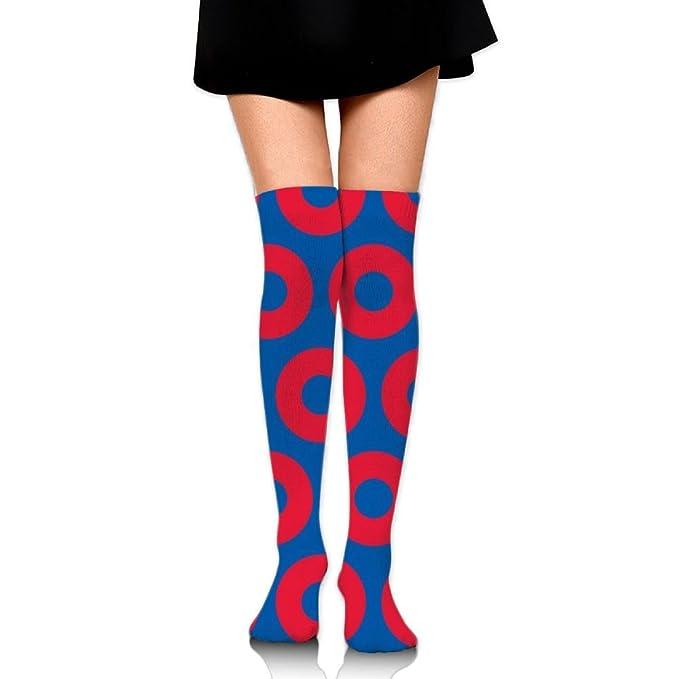 3b9da91479c Amazon.com  Women s Knee High Socks Fancy Design Multi Colorful Patterned  Phish Circles Knee Socks  Clothing