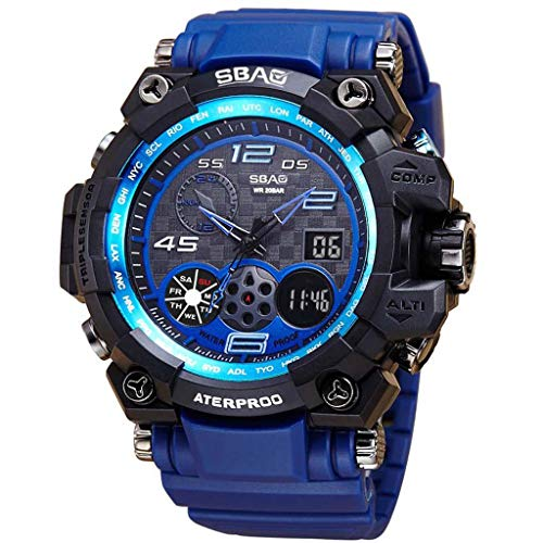 WoCoo Mens Military Digital Outdoor Electronic Water Resistant Sport Watch Large Wrist for Boys Teens(Blue,Free Size)