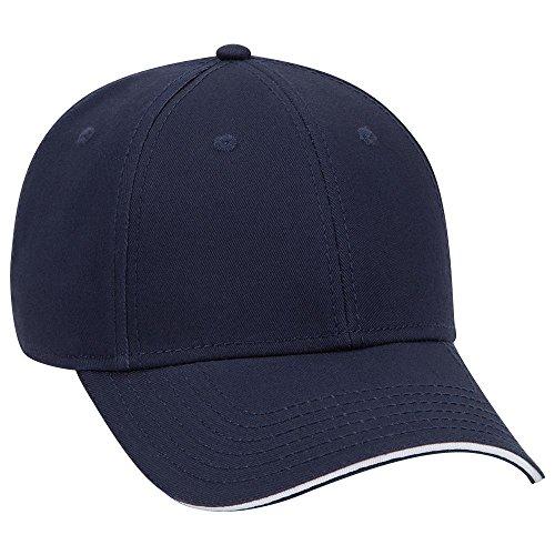 (OTTO Superior Cotton Twill Sandwich Visor 6 Panel Low Profile Baseball Cap - NVY/NVY/Wht)