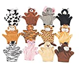 Lot 12 Velour Hand ANIMAL PUPPETS Zoo Farm Safari Plush Party Favors