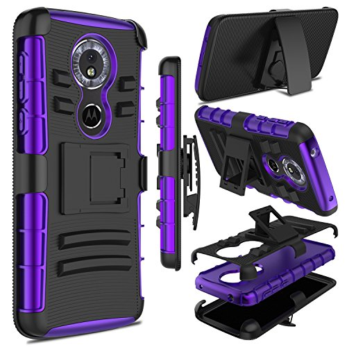 Moto G6 Play Case, Moto E5 Case, Zenic Heavy Duty Shockproof Full-Body Protective Hybrid Case Cover with Swivel Belt Clip and Kickstand for Motorola Moto G6 Play (Purple)