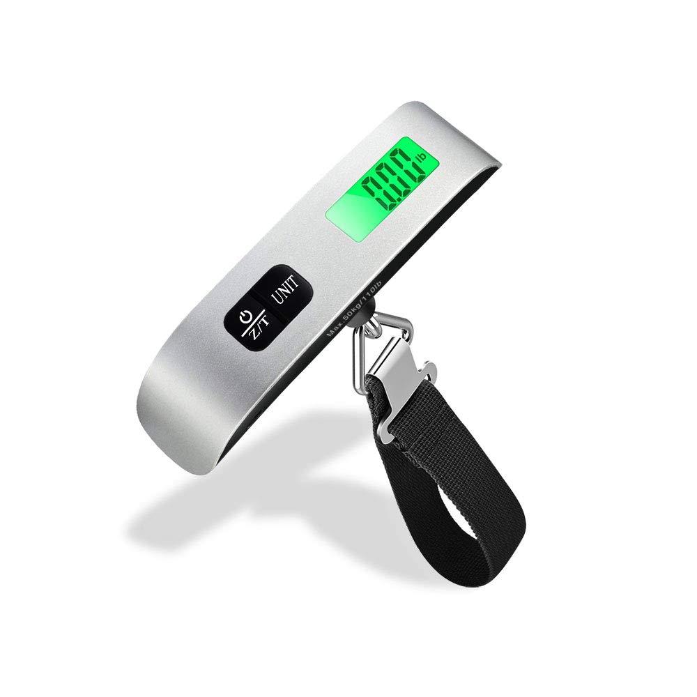 Mixigoo Báscula de Equipaje Balanza Digital Portátil 50kg Pantalla LCD Retroiluminada con Función de Tara Bascula