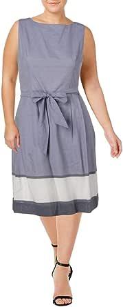 ANNE KLEIN Women's Printed Cotton FIT & Flare Dress