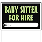 Baby Sitter for hire Yard SignYard Sign, Vinyl Lawn Sign, Political Election Sign