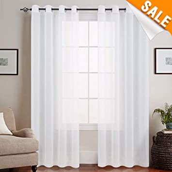 Bleach White Sheer Curtains for Living Room Ring Top Bedroom Volie Window  Curtain Drapes Grommet 84 inch Long 1 Pair