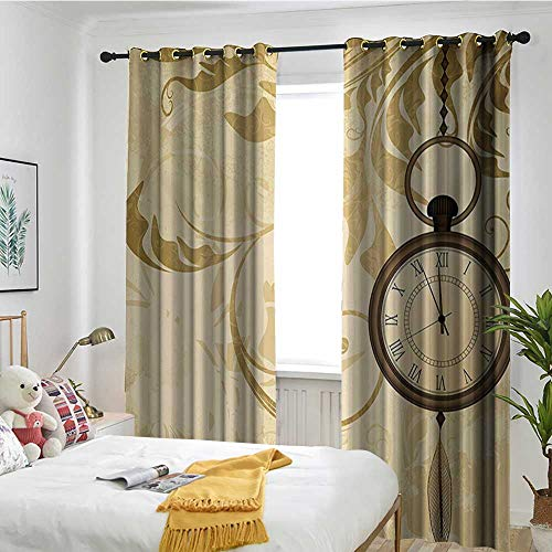 (TRTK Light Blocking Curtains Completely Dark Noise Reduction Curtains Clock,A Vintage Grungy Background Design with Pocket Watches on Chain Romantic Retro Art Print,Brown)