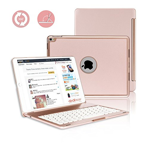 iPad Pro 10.5 Keyboard Case, G-TING 7 Colors Adjustment Backlit and Breathing Light Wireless Keyboard with Ultrathin, Aluminium, 360° Rotatable Cover for 2017 iPad Model (Rose Gold) by G-TING