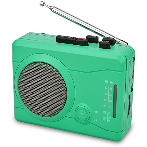 Green Portable Mp3 Cd - DIGITNOW Cassette Player,Personal Walkman Tape and Voice Recorder for Convert Cassette Tape To MP3 Via USB& digital Audio Music to Tapes with Wireless AM/FM Radio,MIC in and Earphone(Green)