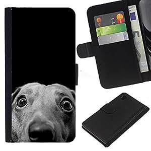 Whippet Italian Greyhound Hound Dog - la tarjeta de Crédito Slots PU Funda de cuero Monedero caso cubierta de piel Sony Xperia Z4v / Sony Xperia Z4 / E6508