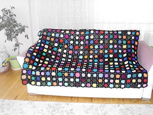 hand made blanket, granny square afghan blanket,handmade blanket, crochet blanket, crochet quilt, multicolor blanket