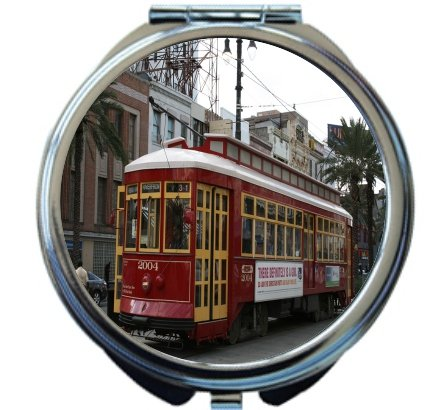 Rikki Knight New Orleans Trolley Bus Design Round Compact Mirror