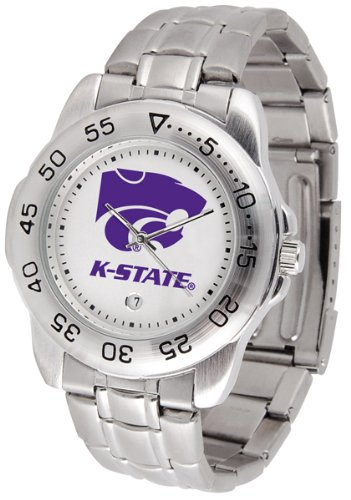 SunTime Kansas State Wildcats Sport Steel Band Men's Watch