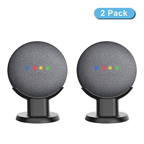 Pedestal Mount Holder Stand for Google Home Mini, A Cleaner Tidier Appearance Solution Desk Mount and Improves Sound Visibility and Appearance for Google Home Mini-Black-2 Pack