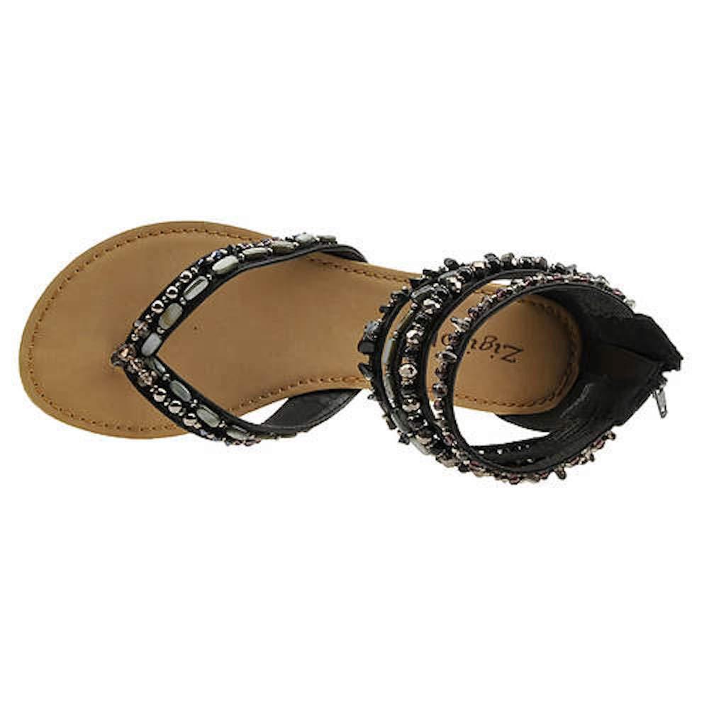ZIGI SOHO Womens Talisa Faux Leather Beaded Flats