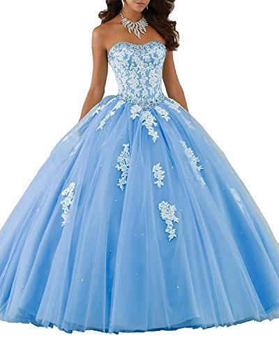 4ae5de2de4e Erosebridal Sweetheart Ball Gown Quinceanera Dress Aqqliques Girls Prom  Party Gowns US 12 Light Blue