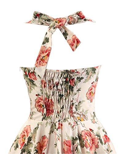 MISSMAO Vintage Rockabilly Kleid Blumen Neckholder Cocktailkleider 50s  Hepburn Kleid Festlich Petticoat Kleid  Amazon.de  Bekleidung 8c4c666308