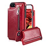 For iPhone 7 8 Pocket Case, Aearl TPU Bumper Shell Back Magnetic Button Closure Vintage PU Leather Cover Zipper Wallet Purse Card Holder and Photo Frame Slot Kickstand Case for iPhone 8 7 - Red