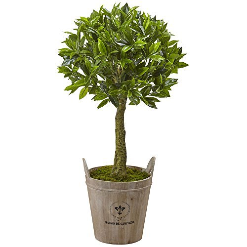 Nearly Natural 5951 38'' Sweet Bay Topiary with European Barrel Planter