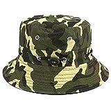 Bllomsem Summer Cotton Fisherman Hat Safari Hiking Bucket Hat Outdoor Sun crushable Adjustable Cap Camouflage