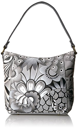 Leather By Anna Patchwork Anuschka Women's Handpainted Hobo Pewter Womens EIgWwqw4xF