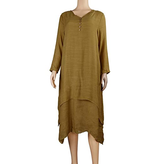 4edc45c7804 Amazon.com  Zainafacai Womens Casual Boho Cotton Linen Maxi Long Dress  Loose Beach Kaftan-Plus Size (Yellow