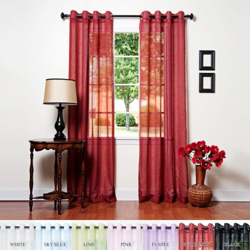 Best Home Fashion Crushed Voile Sheer Curtains - Antique Bronze Grommet Top - Burgundy - 52