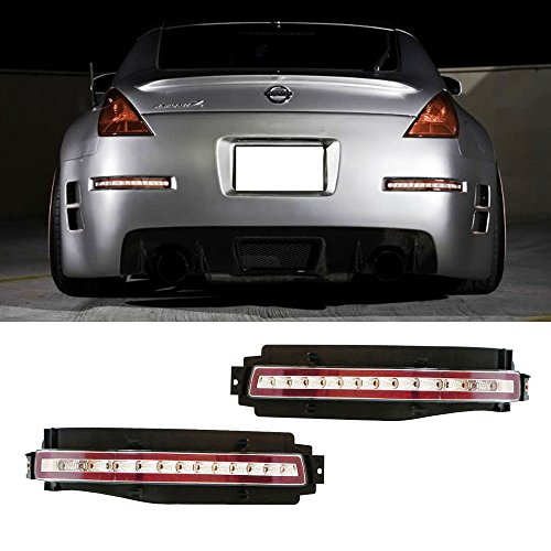 - iJDMTOY Clear Lens All-In-One LED Turn Signal, Backup Reverse & Brake Light Assembly For 2003-2009 Nissan 350Z