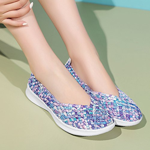 On Shoes Trainer Ladies Woven Comfort Slip Blue Loafer Colorful Monrinda Sport Water Women Sneakers Weight Light Sandals Elastic Flats Casual Xv587qf