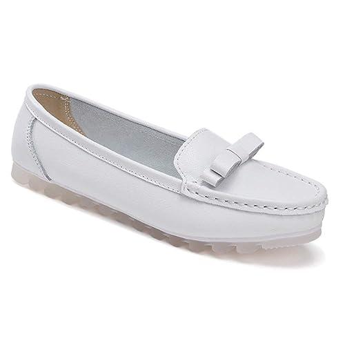 Gtagain Zapatos para Mujer Náuticos - Mocasines Punta Redonda Plano Oxford Comodidad Suave Suela Cuero Bombas Oficina El Trabajo Casual Caminando Zapatos de ...