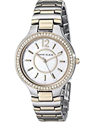 Anne Klein Womens AK/1855MPTT Swarovski Crystal-Accented Two-Tone Bracelet Watch