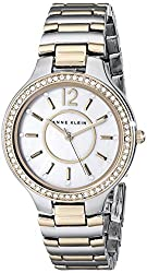 Anne Klein Women's AK/1855MPTT Swarovski Crystal-Accented Two-Tone Bracelet Watch