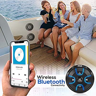 6.5'' Dual Marine Speakers Kit - Waterproof-Rated w/Amplified Bluetooth Remote Control Receiver for Powersport Vehicles, IP65 Marine Grade Rating, 600 Watt Max Power - Pyle PLMRKT8