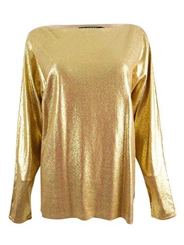 - LAUREN RALPH LAUREN Womens Metallic Sparkly Sweater Gold L