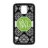 Zig Zag Black Vintage European Pattern Vs Green Monogrammed Personalized Custom Phone Case Samsung Galaxy S5 Best Rubber and PVC Cover