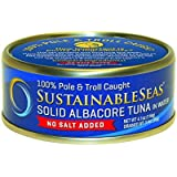 Sustainable Seas, Solid Albacore Tuna in Water, No Salt Added, 4.1 Ounce (Pack of 12)