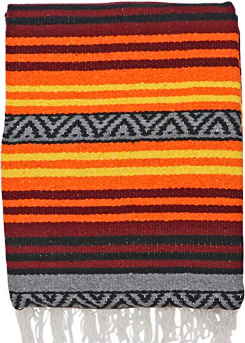 El Paso Designs Peyote Hippie Blanket Classic Mexican Style Falsa Stripe Pattern in Vivid Peyote Colors. Throw, Bed, Tapestry, or Yoga Blanket. Hand Woven Acrylic, 57