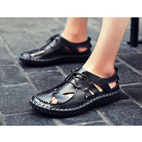 Men's Brown Leather Closed-Toe Sandals Walking Sandals Outdoor Hiking Trekking Shoes Black UjZUZdA
