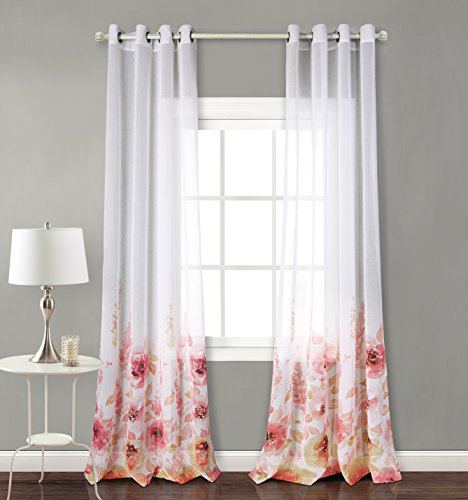 indow Fiori Print Sheer Curtains for Bedroom, Red, 54