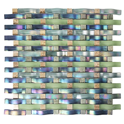 Woven Curved Georgette Blue, Green Iridescent Mosaic Glass Tile - 3D Wavy Glass - Kitchen and Bathroom Backsplash (Box of 5 - Bathroom Iridescent Tile